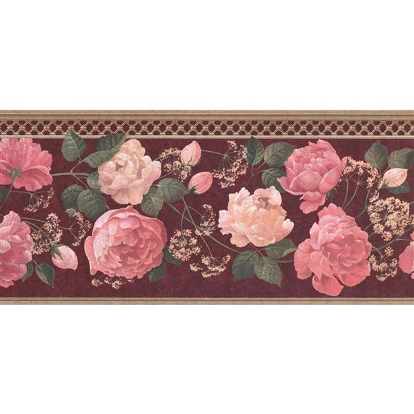 Retro Art Roses and Baby Breath Wallpaper Border - Pink/White
