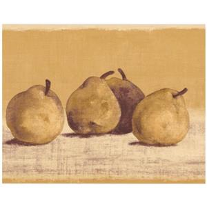 Retro Art Pears on Merigold Wallpaper - Beige