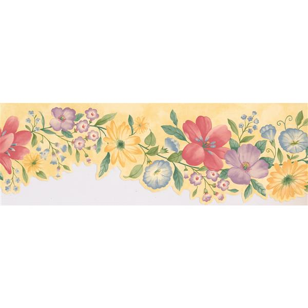 Retro Art Floral Wallpaper Border - Purple/Yellow