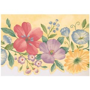 Retro Art Floral Wallpaper Border - Purple/Yellow