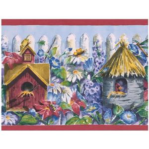 Retro Art Birdhouses and Flowers Wallpaper Border - Purple