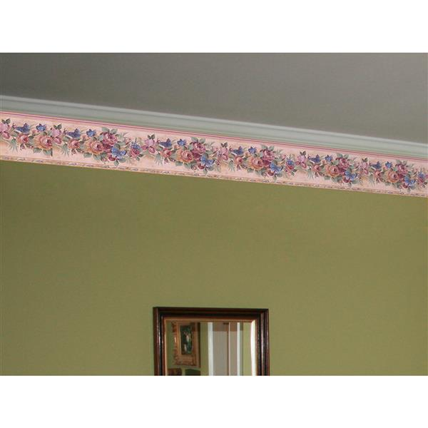 Retro Art Butterflies and Roses Wallpaper Border - Pink/ White