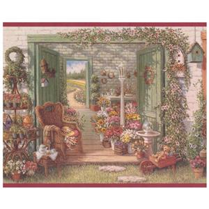 Retro Art Vintage Flower Shop Wallpaper Border