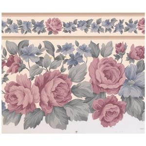 Retro Art Floral Wallpaper Border - Pink