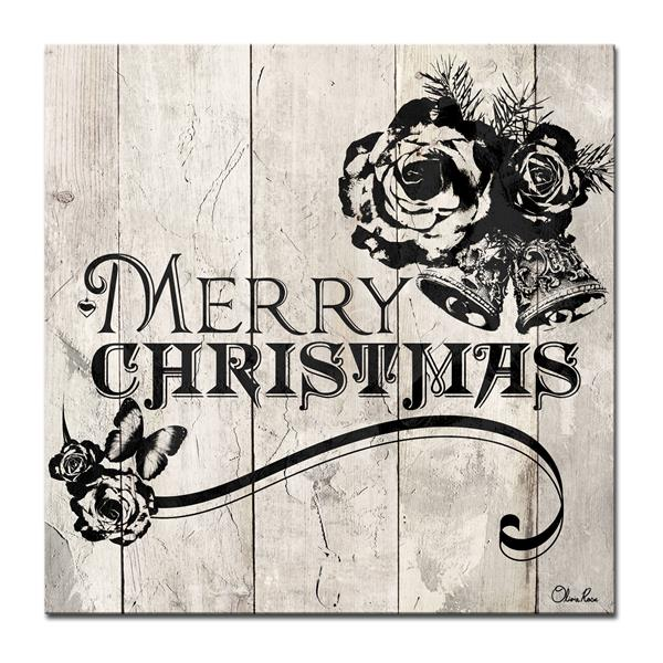 "Merry Christmas Canvas Wall Art - 30"" - Brown"
