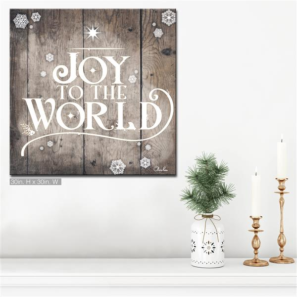 "Christmas Joy to World Canvas Wall Art - 30"" - Brown"