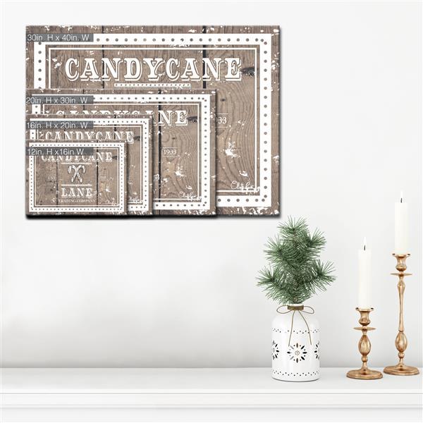 """Décoration murale sur toile «Candycane Lane», 40"""", brun"""