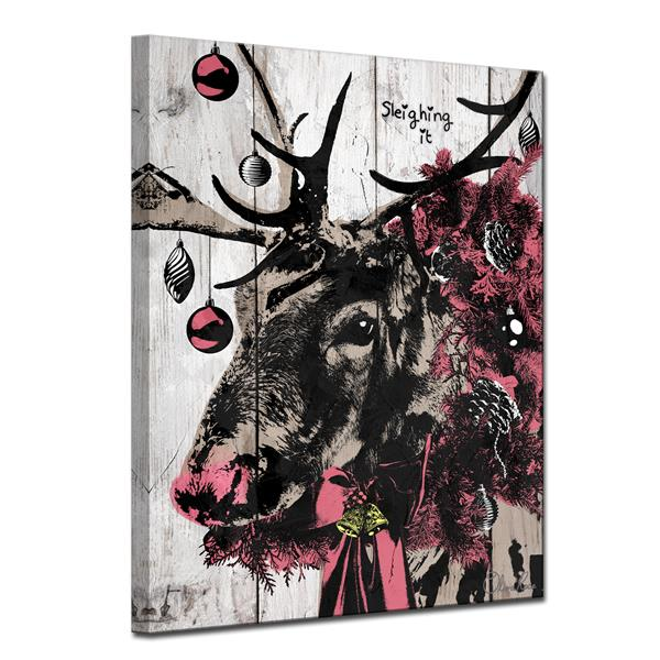 "Christmas Reindeer Canvas Wall Art - 30"""