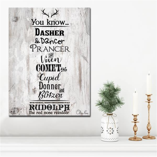 "Christmas Reindeer List Canvas Wall Art - 30"" - Brown"