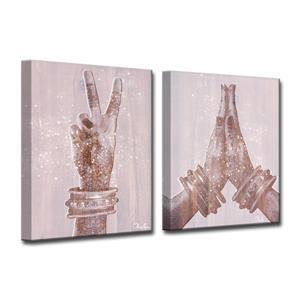 "Ens. d'art mural «Peace and Namaste», 60"", rose, 2 mcx"