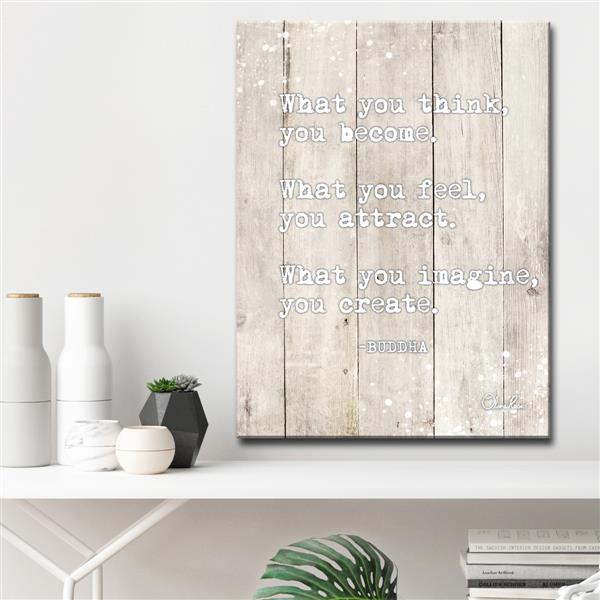 Ready2HangArt Buddha Quote Inspirational Canvas Wall Décor - 30-in - White