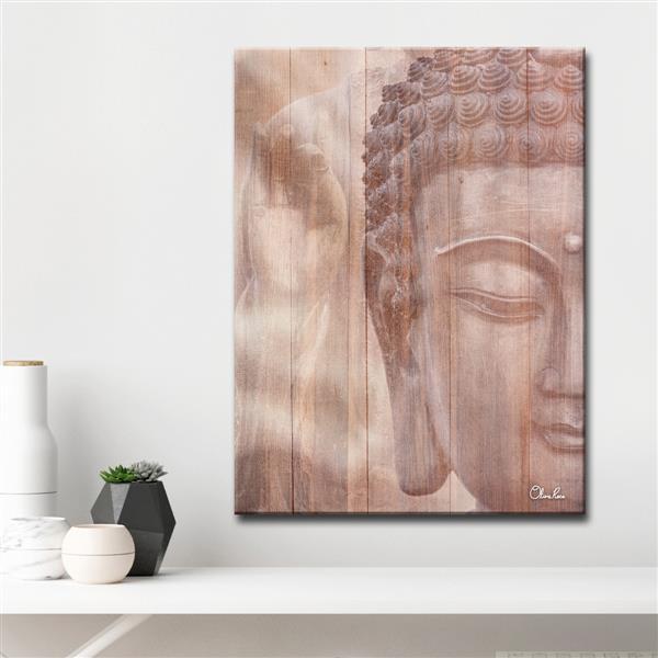 """Décoration murale sur toile, Bouddha, 30"""", brun"""