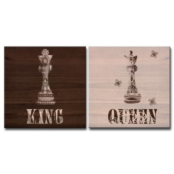 """Ens. d'art mural «King & Queen», 40"""", brun, 2 mcx"""