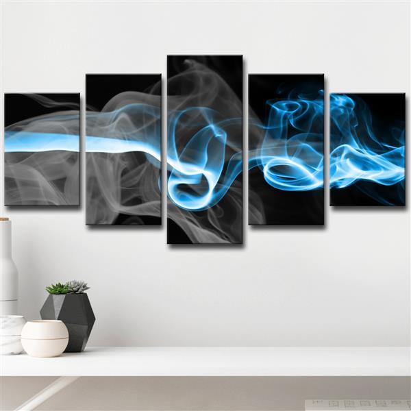 "Ens. d'art mural Glitzy Mist, 60"", bleu, 5 mcx"