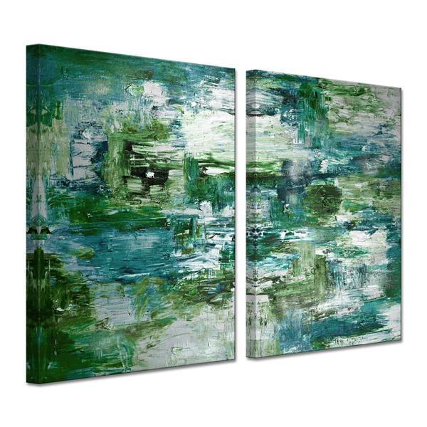 """Ens. d'art mural sur toile Smash, 60"""", vert, 2 mcx"""