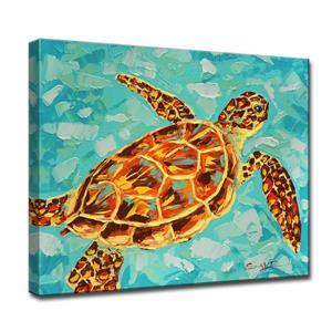 """Décoration murale sur toile, tortue, 40"""", bleu"""