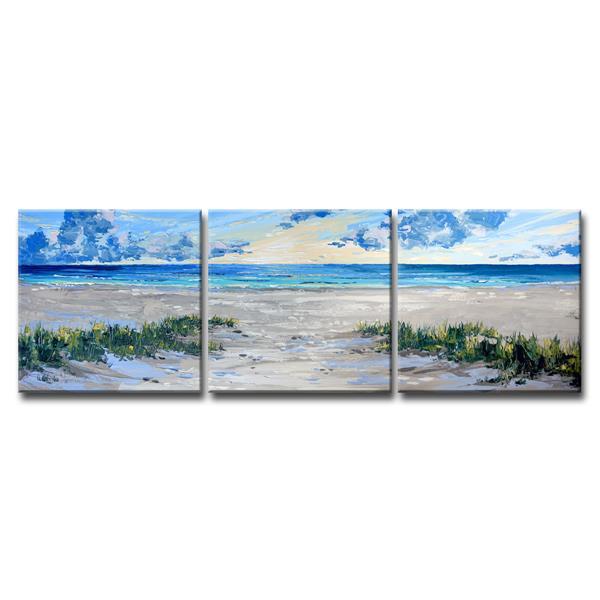 """Ens. d'art murale sur toile, plage, 72"""", bleu, 3 mcx"""