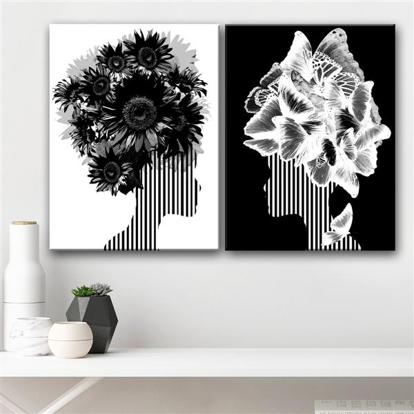 Ready2HangArt Mod Swag Wall Décor Set - 60-in - Black - 2 Pcs