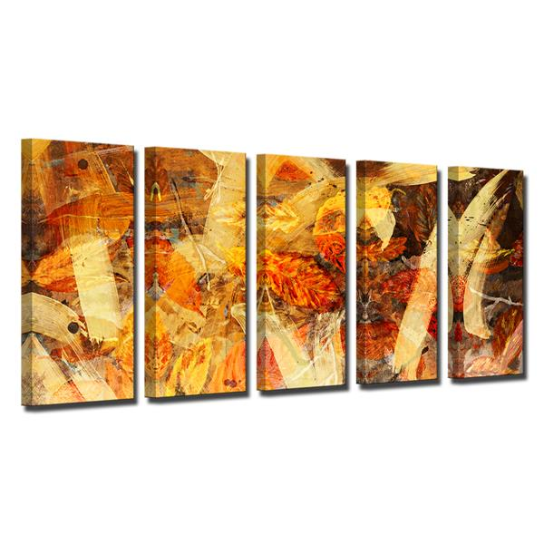 Ready2HangArt Painted Petals Wall Décor Set - 60-in - Orange - 5 Pcs