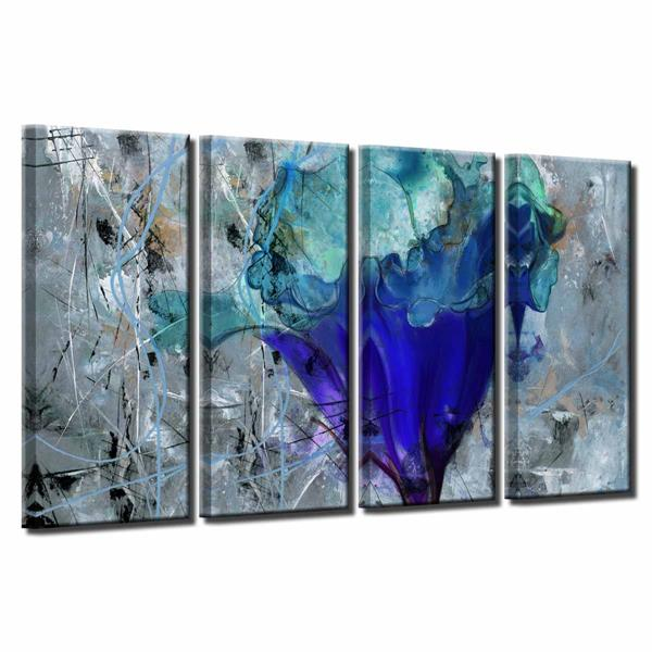 """Petals Wall Décor Set - 48"""" - Blue - 4 Pcs"""