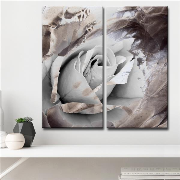 "Painted Petals Wall Décor Set - 40"" - Gray - 2 Pcs"