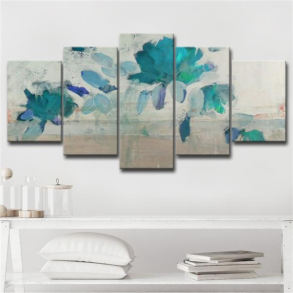 Ready2HangArt Painted Petals Wall Décor Set - 60-in - Blue - 5 Pcs