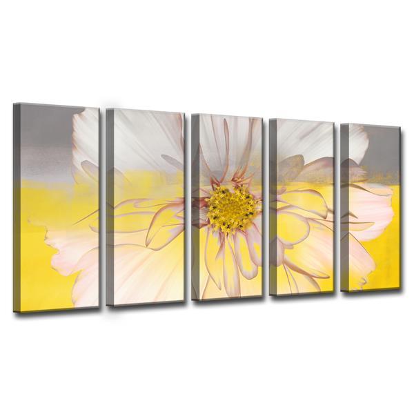 """Ens. d'art mural sur toile, pétales, 60"""", jaune, 5 mcx"""
