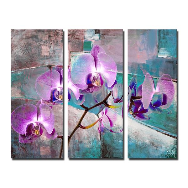 "Painted Petals XIX Wall Décor Set - 60"" - Purple - 3 Pcs"