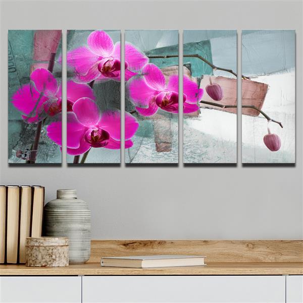 """Painted Petals XIII Wall Décor Set - 60"""" - Pink - 5 Pcs"""