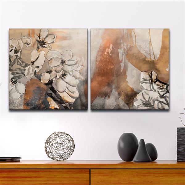 """Painted Petals X Wall Décor Set - 60"""" - Brown - 2 Pcs"""