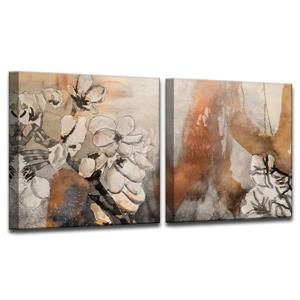 Ready2HangArt Painted Petals X Wall Décor Set - 60-in - Brown - 2 Pcs