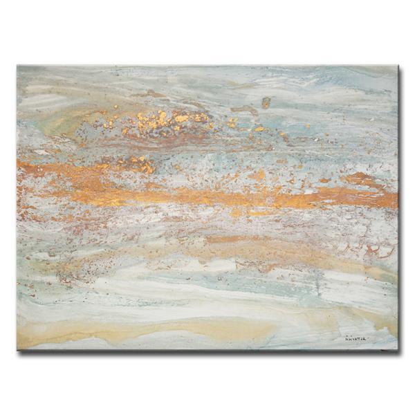 """Flecks of Gold Canvas Wall Décor - 40"""" - Gray"""