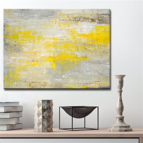 """Décoration murale sur toile «Repose», 40"""", jaune"""