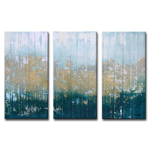 """Ens. d'art mural sur toile «Harbour Point», 60"""", bleu, 3 mcx"""