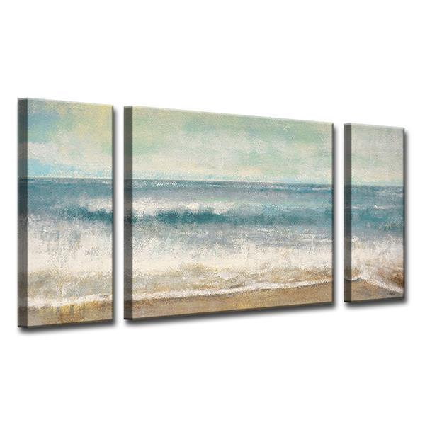 """Ens. d'art mural sur toile, plage, 60"""", bleu, 3 mcx"""