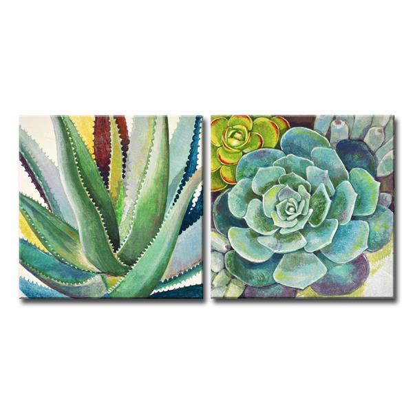 """Ens. d'art mural, succulentes brillantes, 48"""", vert, 2 mcx"""