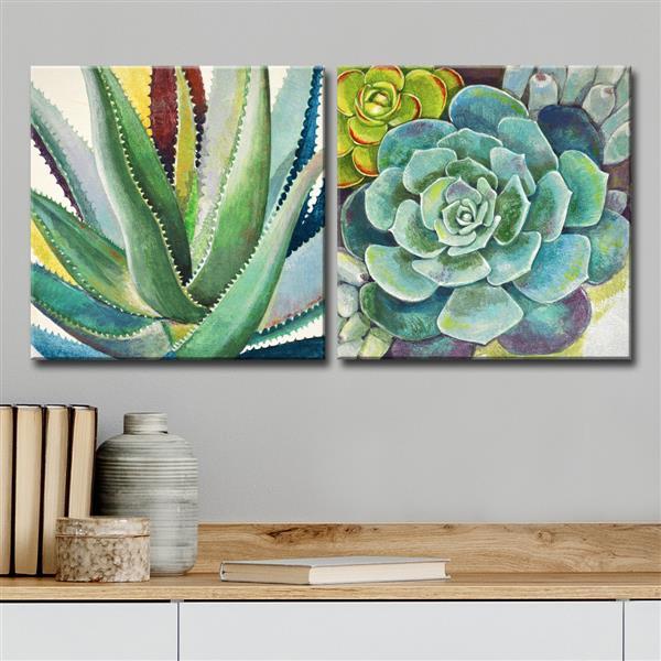 """Ens. d'art mural, succulentes brillantes, 60"""", vert, 2 mcx"""