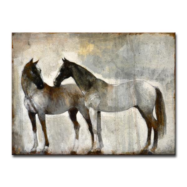 """Décoration murale sur toile, cheveaux, 40"""", gris"""