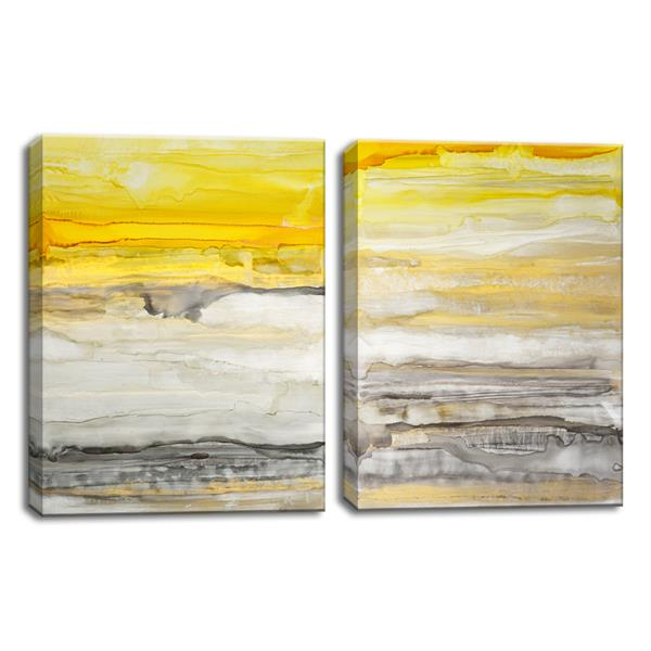 "New Sunset Wall Décor Set - 40"" - Yellow - 2 Pcs"