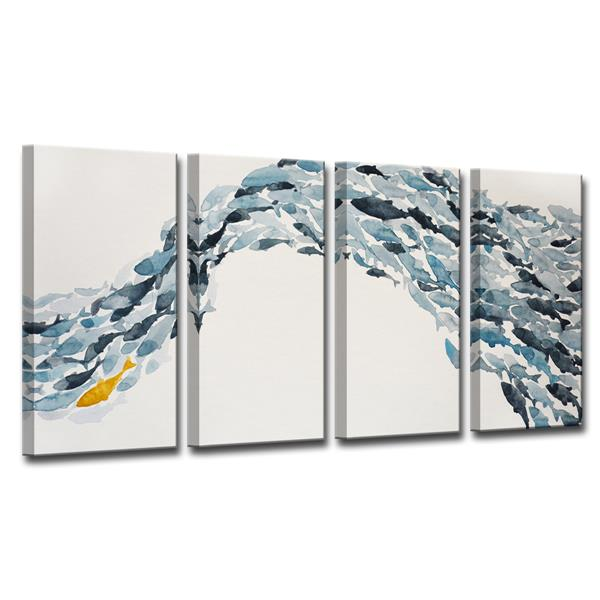 "Goldfish Canvas Wall Décor Set - 48"" - Blue - 4 Pcs"