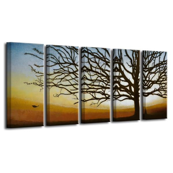 Ready2HangArt The Last Leaf Wall Décor Set - 60-in - Brown - 5 Pcs