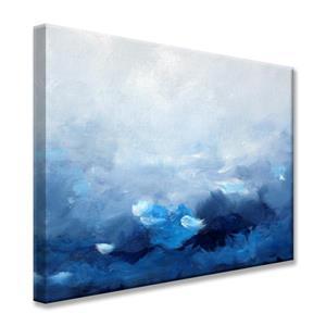 """Décoration murale sur toile, vague du monde, 40"""", bleu"""