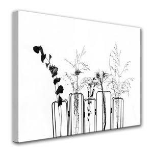 """Décoration murale en toile, floral, 40"""", noir et blanc"""
