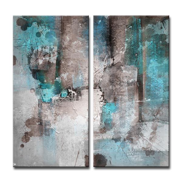 """Ens. d'art mural sur toile, encre, 40"""", bleu, 2 mcx"""