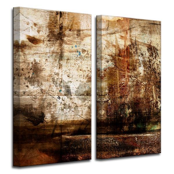 """Ens. d'art mural sur toile, abstrait, 40"""" x 40"""", brun, 2 mcx"""