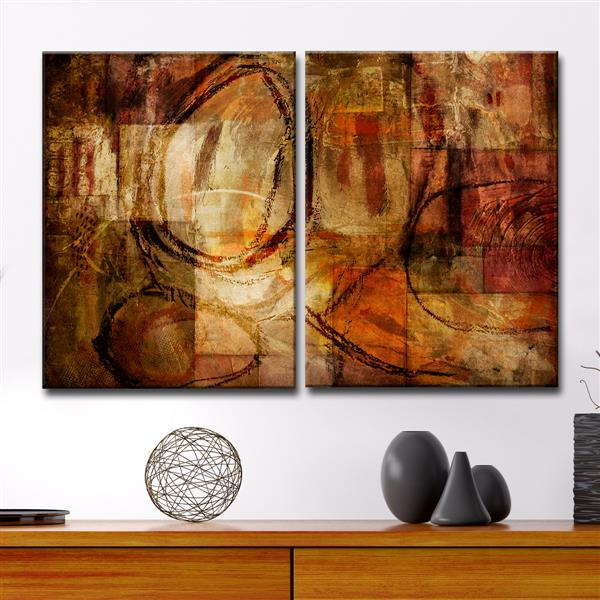 Ready2HangArt Abstract Canvas Wall Décor Set - 40-in - Brown - 2 Pcs
