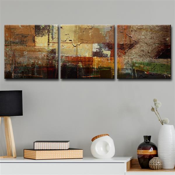 """Ens. d'art mural sur toile, abstrait, 60"""" x 20"""", brun, 3 mcx"""