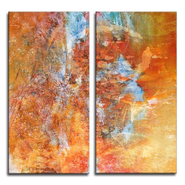 """Ens. d'art mural sur toile, abstrait, 40"""", orange, 2 mcx"""