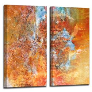 "Ens. d'art mural sur toile, abstrait, 40"", orange, 2 mcx"