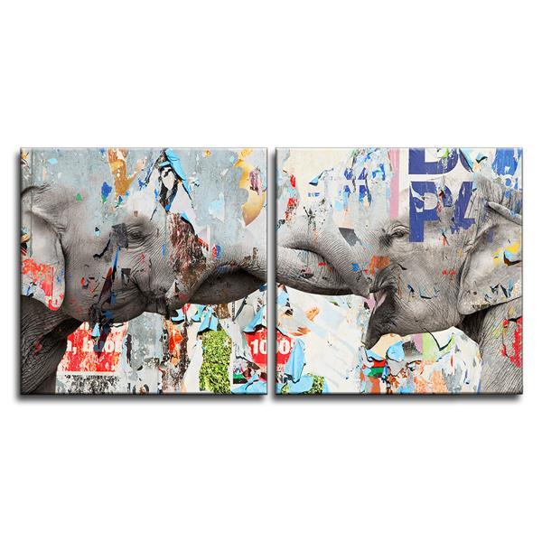 """Ens. d'art mural sur toile, éléphant, 40"""", 2 mcx"""